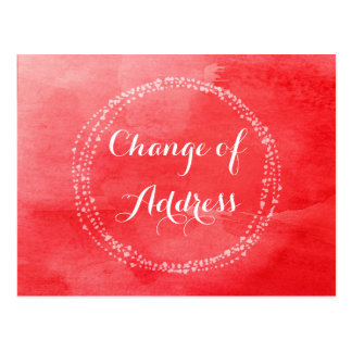 Water colour Red Change of Address Postcards