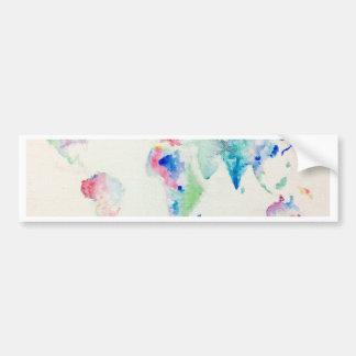 water colour world map bumper sticker