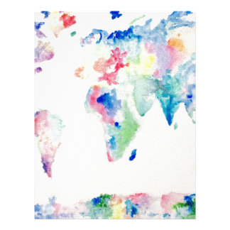 water colour world map letterhead