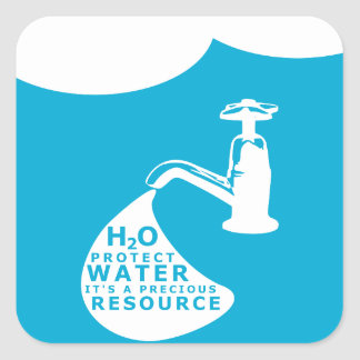 Water Conservation and Sustainablity Square Sticker