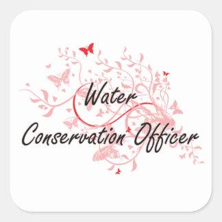 Water Conservation Officer Artistic Job Design wit Square Sticker