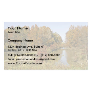 Water control dam and autumn trees business cards
