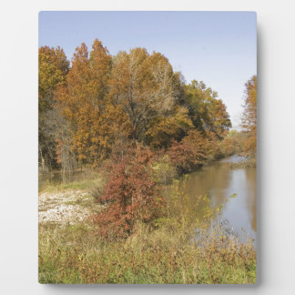WATER CONTROL DAM AND AUTUMN TREES PLAQUE
