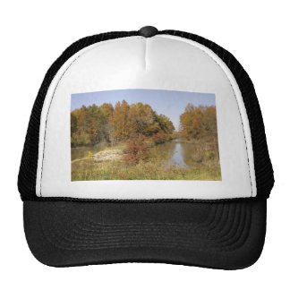WATER CONTROL DAM AND AUTUMN TREES TRUCKER HAT