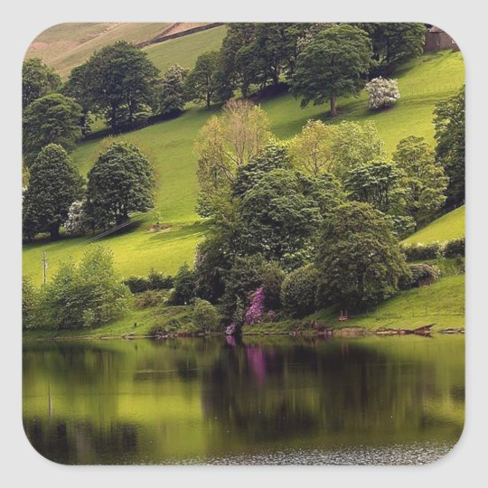 Water Country Cottage Lake Square Sticker