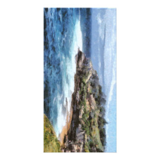 Water cove with rocky cliffs card