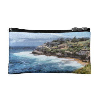Water cove with rocky cliffs cosmetic bag
