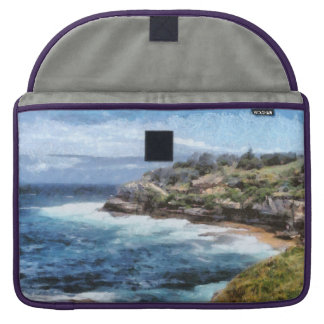 Water cove with rocky cliffs sleeve for MacBooks