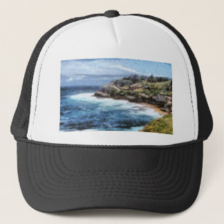 Water cove with rocky cliffs trucker hat
