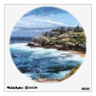 Water cove with rocky cliffs wall decal
