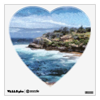 Water cove with rocky cliffs wall sticker