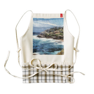 Water cove with rocky cliffs zazzle HEART apron