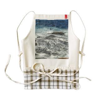 Water crashing over rocks zazzle HEART apron