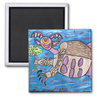 Water Creature 2 Inch Square Magnet