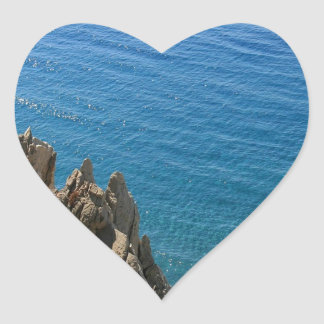 Water Crystal Clear Seashore Heart Stickers