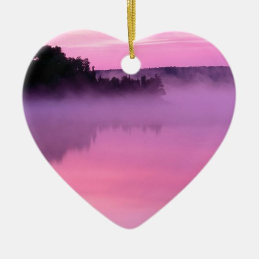 Water Dawn On Ensign Lake Double-Sided Heart Ceramic Christmas Ornament