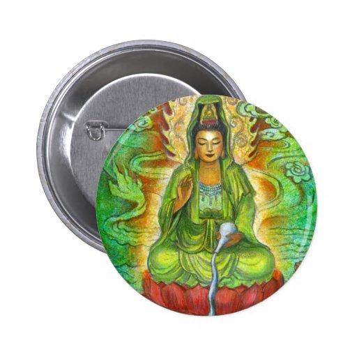 """""""Water Dragon"""" Kuan Yin Buton 2 Inch Round Button"""