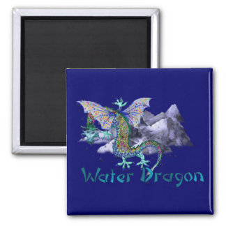 Water Dragon 2 Inch Square Magnet