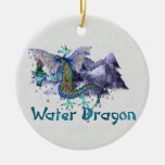 Water Dragon Double-Sided Ceramic Round Christmas Ornament