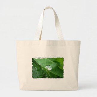 Water Drip on Leaf Water Conservation Design Large Tote Bag
