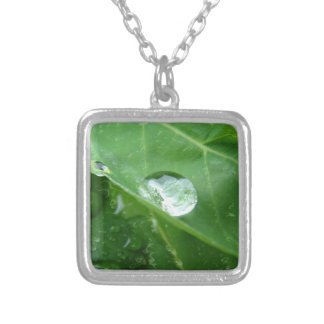 Water Drip on Leaf Water Conservation Design Square Pendant Necklace