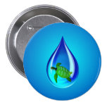 Water Drop and Sea Turtle 3 Inch Round Button