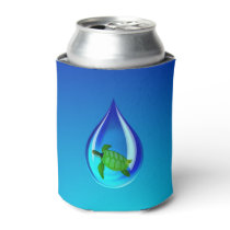Water Drop and Sea Turtle Can Cooler