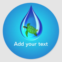 Water Drop and Sea Turtle Classic Round Sticker