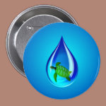 Water Drop and Sea Turtle Pinback Button