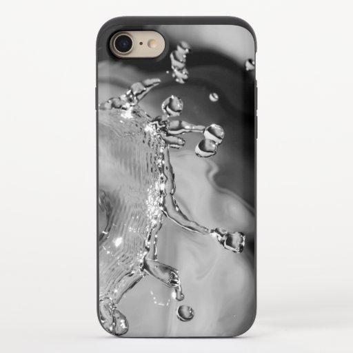 Water drop collision in black & white iPhone 8/7 slider case