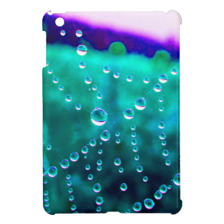 Water drop in the spider net, coloured changes, iPad mini cover