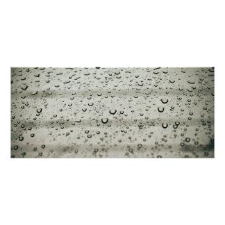 Water drop on a window rack card template