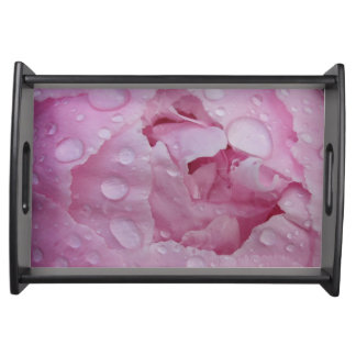 Water drop on peony serving tray