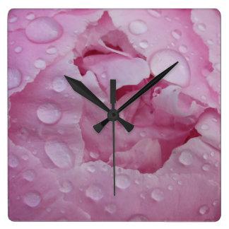 Water drop on peony square wall clock