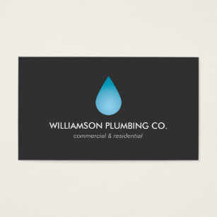 Plumbing business cards templates zazzle water drop plumbing plumbers business card reheart Image collections