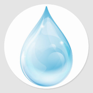 Water drop round stickers