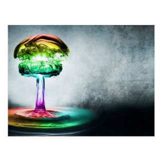 water droplet color explosion postcard