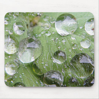 Water droplet on a green sheet mouse pad