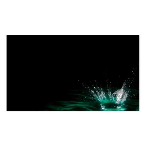 Water droplet splash on black background business card for Business card background black