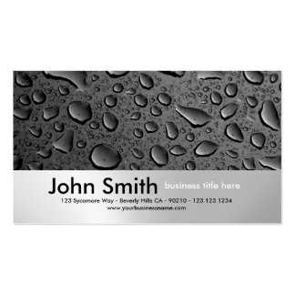 Water Droplets Brushed Metal Design business card