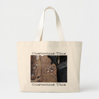 Water Droplets on Fallen Leaf; Customizable Large Tote Bag