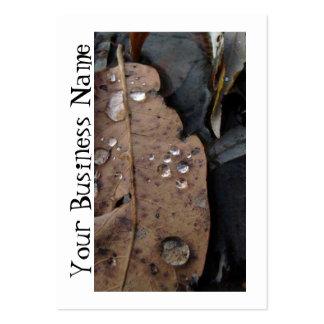 Water Droplets on Fallen Leaf Large Business Card