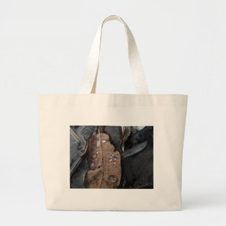 Water Droplets on Fallen Leaf Large Tote Bag