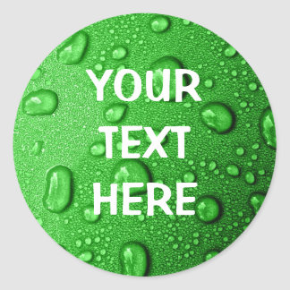 Water droplets on green background, cool & wet classic round sticker