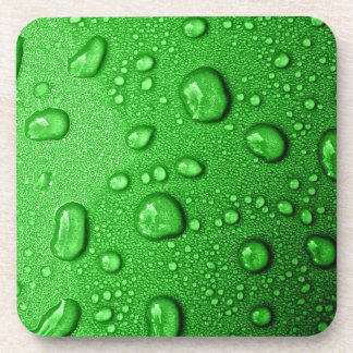 Water droplets on green background, cool & wet drink coasters