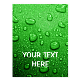 Water droplets on green background, cool & wet postcard