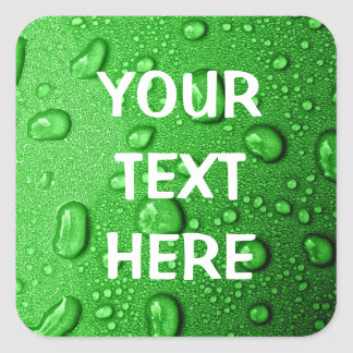 Water droplets on green background, cool & wet square sticker