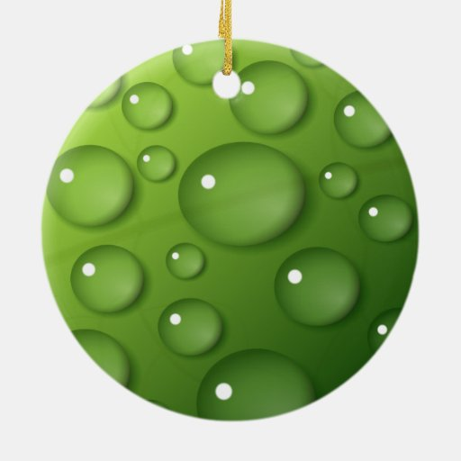 Water Droplets on Green Square Background Ceramic Ornament