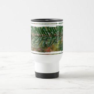 Water Droplets on Spruce Bough; 2012 Calendar Travel Mug
