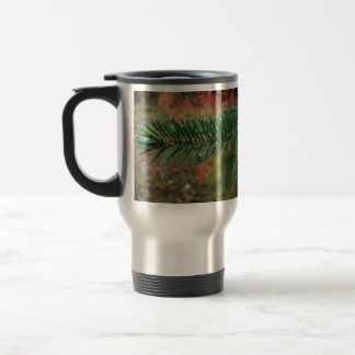 Water Droplets on Spruce Bough Travel Mug